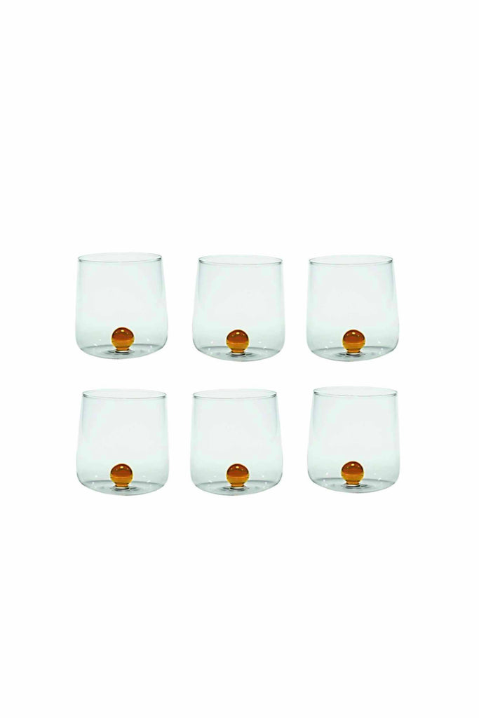SET OF SIX GLASS TUMBLERS WITH ORANGE ACCENT