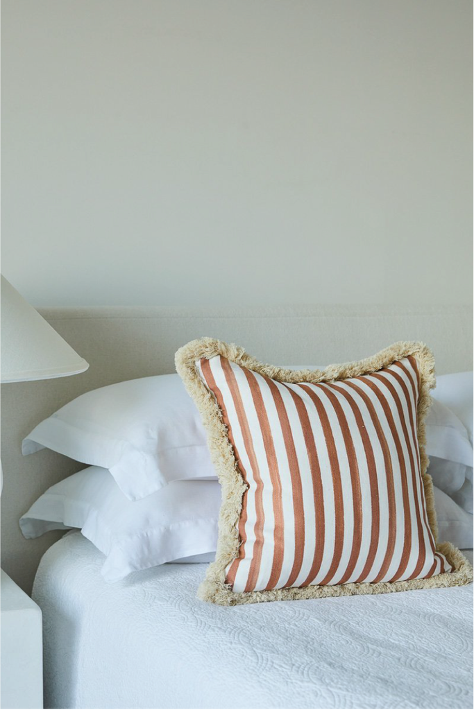 TERRACOTTA STRIPED CUSHION WITH BRUSH FRINGE