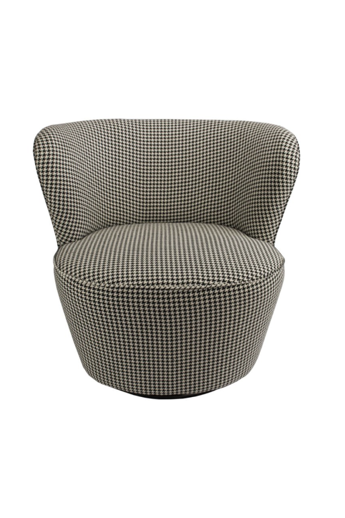 HOUNDSTOOTH SWIVEL ARMCHAIR