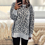 Casual Leopard Round Neck Long Sleeve Top