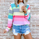 Printing Round Neck Long Sleeve Striped Top