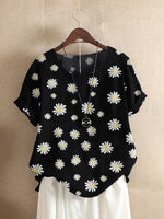 Daisy Floral Print O-Neck T-Shirts Short Sleeves