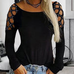 Women Tops T-Shirt Sexy Hollow Long Sleeve Round Neck Plus Size Solid Color