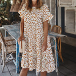 Wave Point Print Short Sleeve Loose Dress