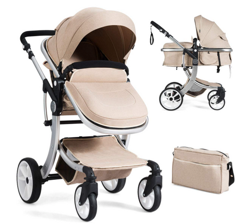 2-in-1 Convertible Bassinet Sleeping Stroller