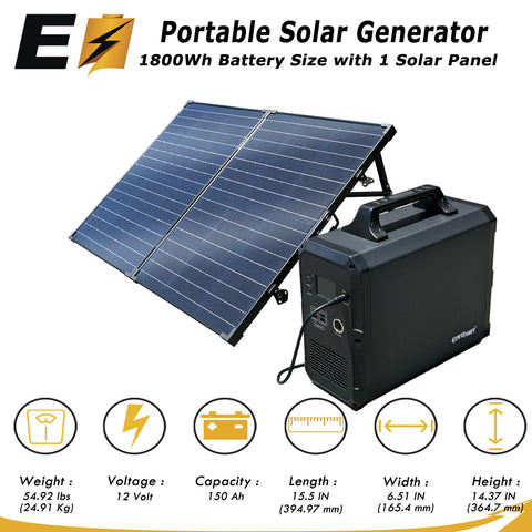 Portable Power Station/Solar Generator, 1800Wh Lithium Power + 100W Solar Panel