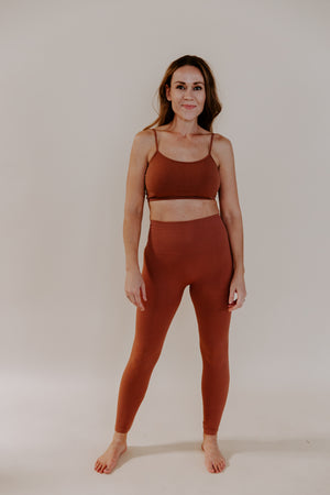 Chestnut Seamless Ribbed Leggings
