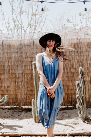 Button Down Denim Maxi Dress