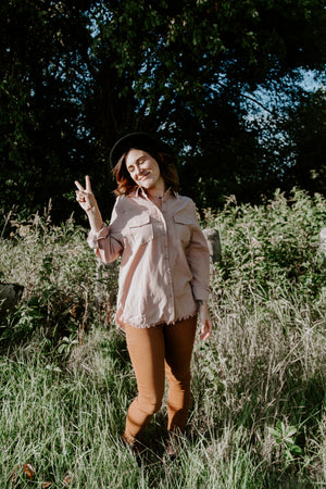 Blush Button Long Sleeve top