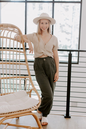 Olive Gauze Trousers