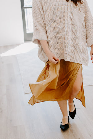 Mustard Pleated Maxi Skirt