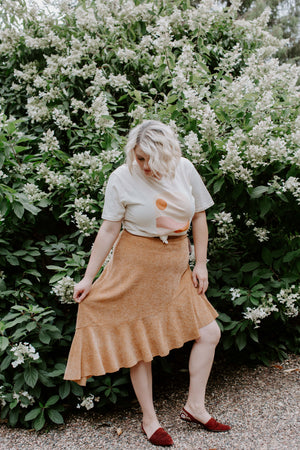Terra Cotta Asymmetrical Midi Skirt