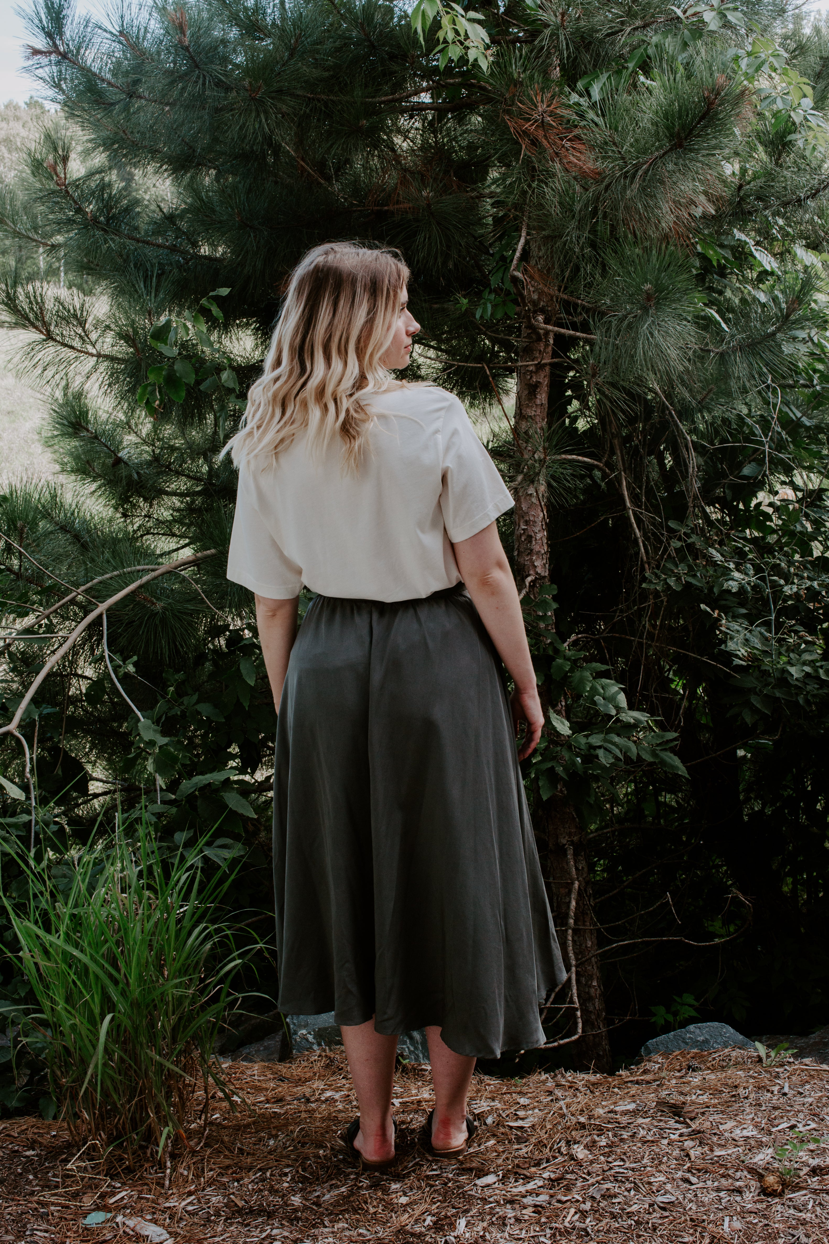 Olive Button Maxi Skirt