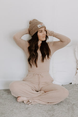 Mocha Wide Leg Ribbed Pants