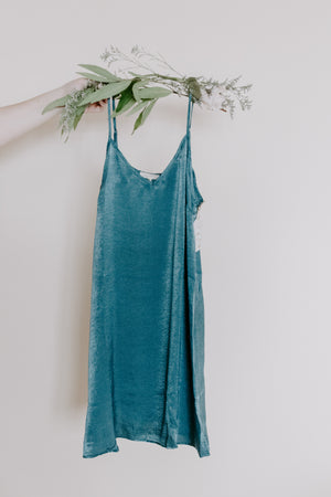 Teal Satin Slip