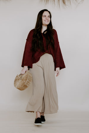 Tan Soft Wide Leg Pant