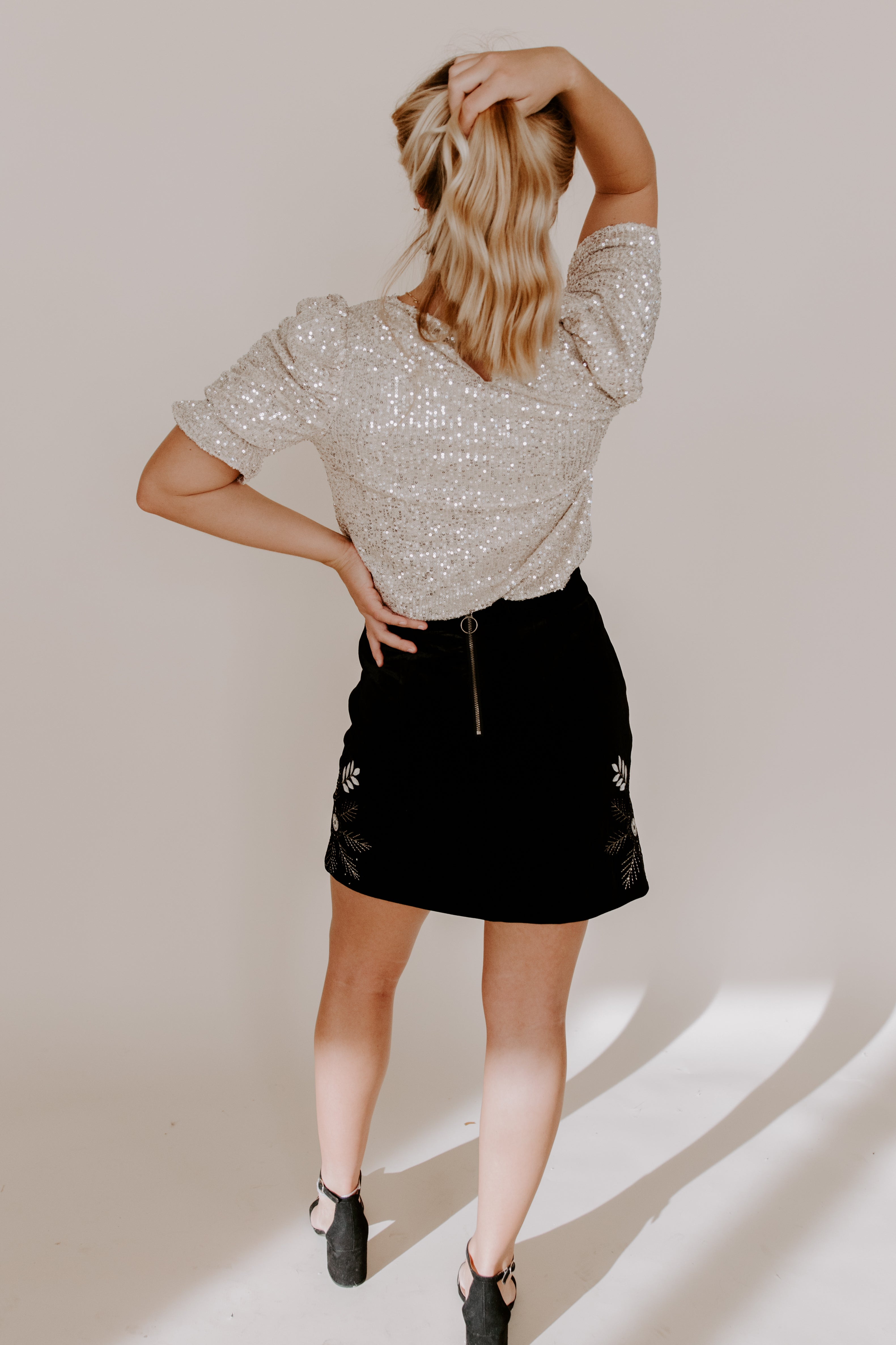 THML Ruched Sequin Top
