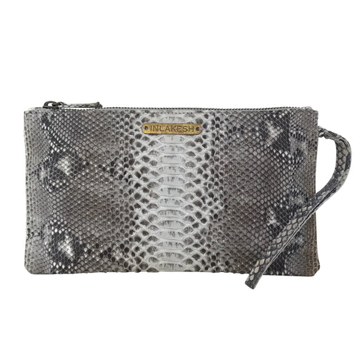 SNAKESKIN WRISTLET in Taupe