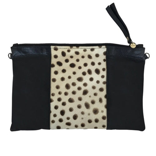 SPOTTED CALF HAIR CLUTCH- Black