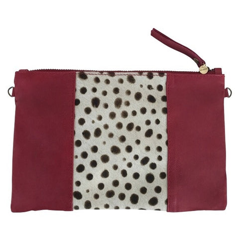 SPOTTED CALF HAIR CLUTCH- Red