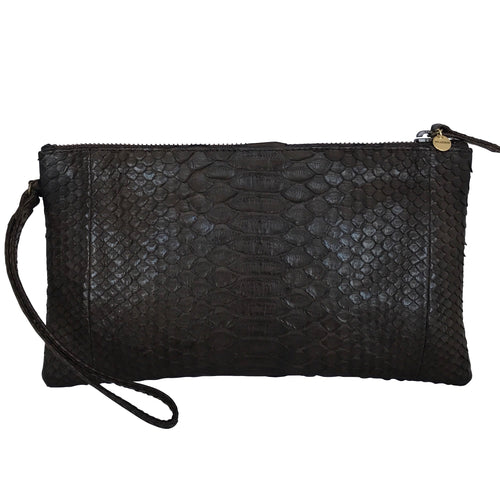 SNAKESKIN WRISTLET in Dark Chocolate Brown