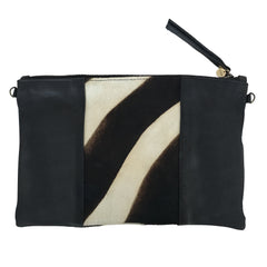 ZEBRA CALF HAIR CLUTCH- Black