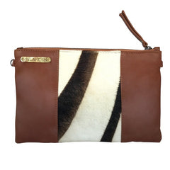 ZEBRA CALF HAIR CLUTCH- Brown