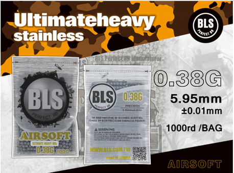 BLS Perfect BB 0.38g Ultimate Heavy Airsoft BBs 1000rd
