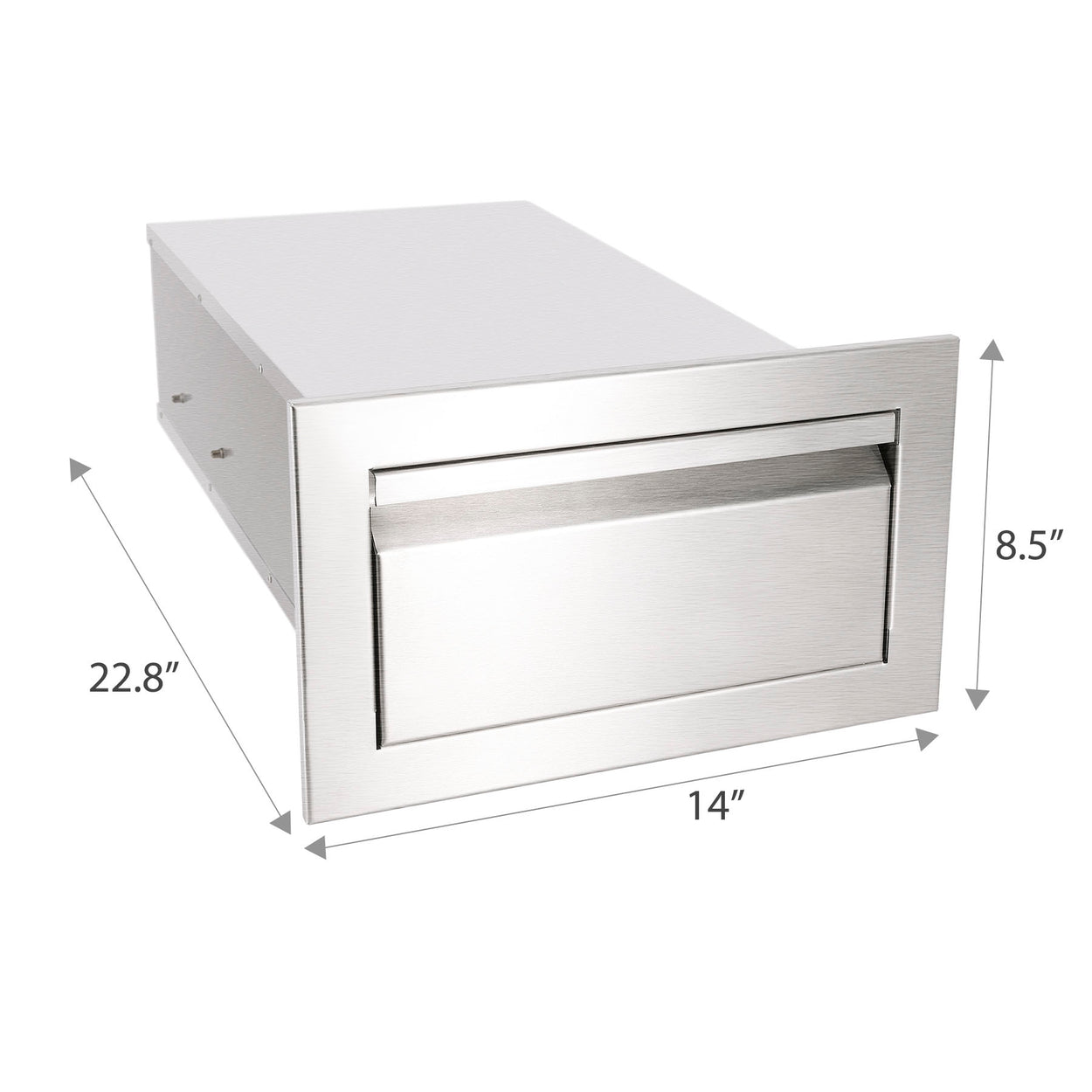 "14"" Outdoor Kitchen BBQ Island Stainless Steel Access Drawer Single Worktable"