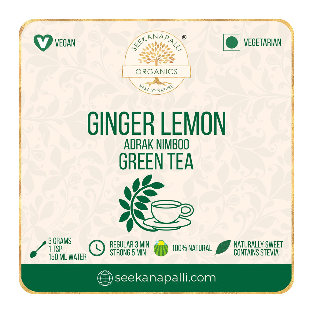 Seekanapalli Organics Ginger Lemon Adrak Nimboo Green Tea (500 gram)