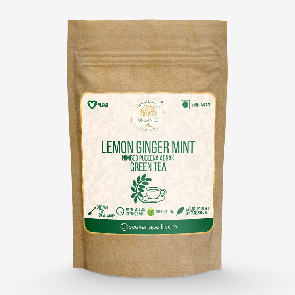 Seekanapalli Organics Lemon Ginger Mint Nimboo Adrak Pudina Green Tea (1000 gram)