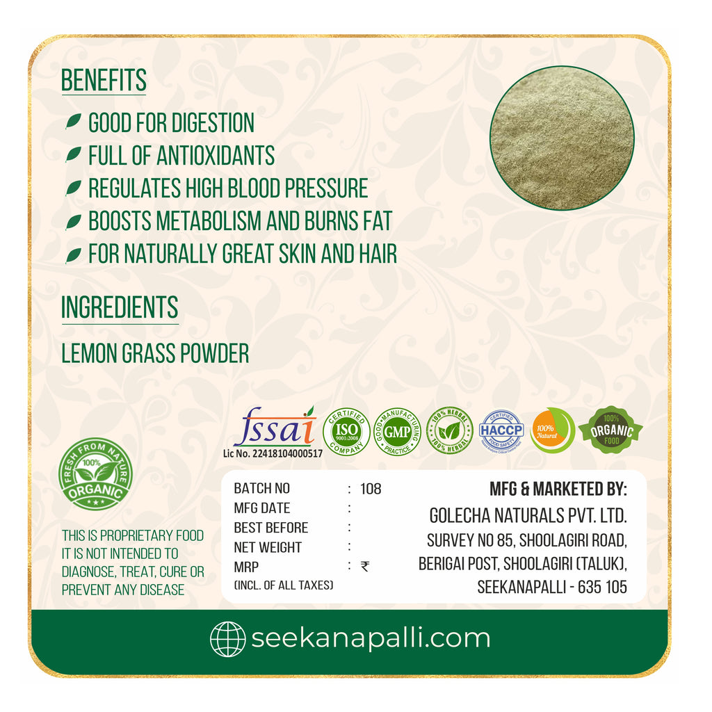 Seekanapalli Organics Lemon gramrass Leaves Powder 200 gram