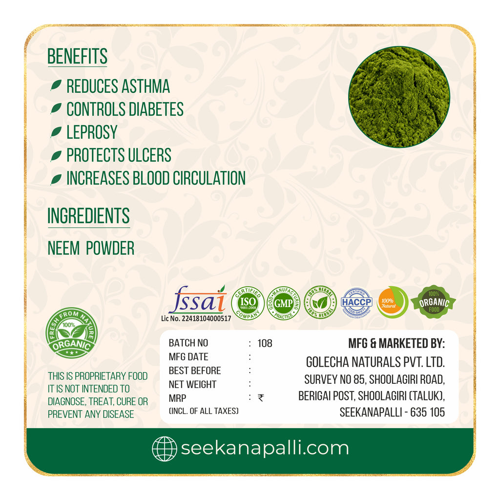 Seekanapalli Organics Neem Leaves Powder for Face Pack & Hair Pack 200 gram