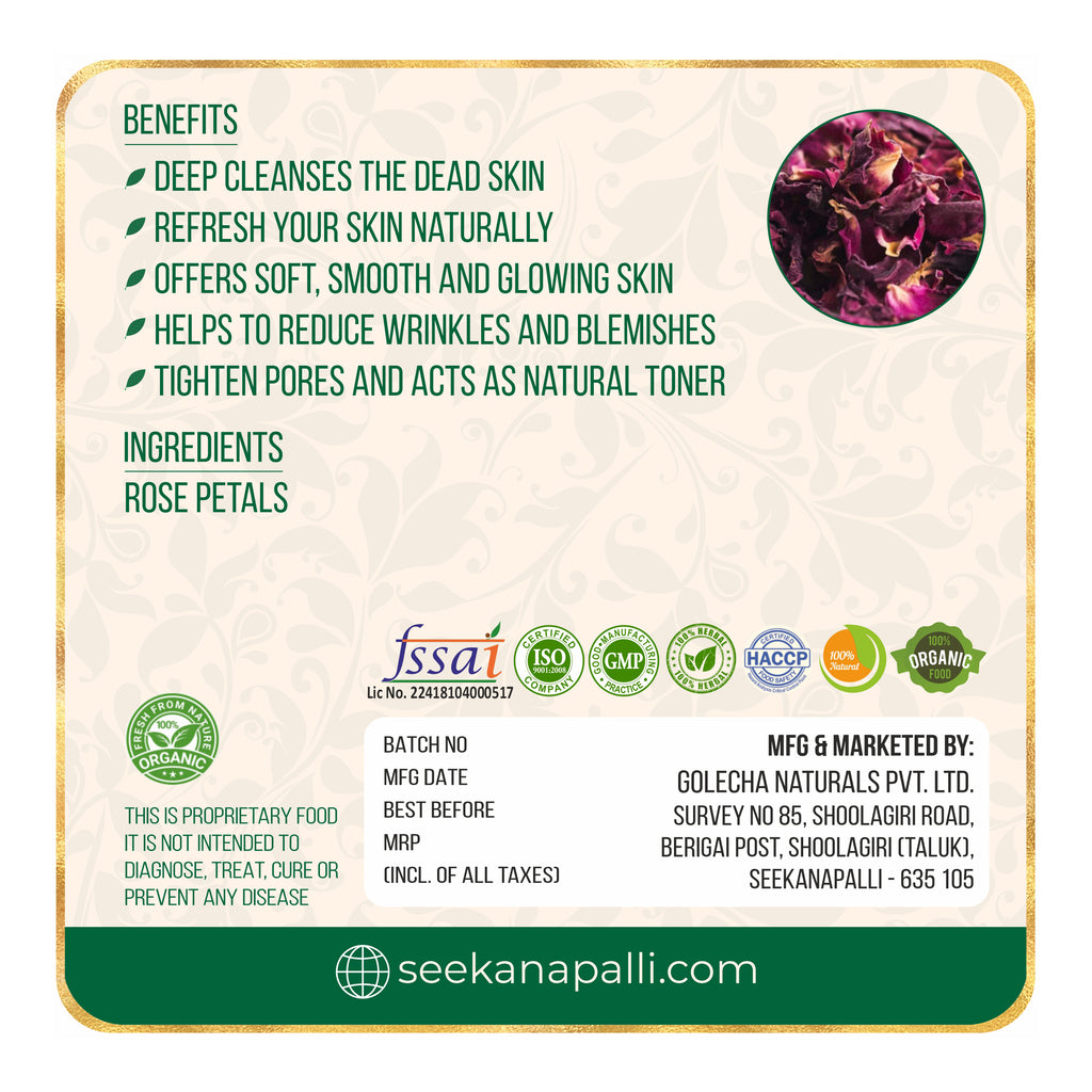 Seekanapalli Rose Petals Sun Dried - Herbal Tea - Rose Tea - For Beautiful Hair & Skin  Rose Herbal Tea Pouch 300 gram