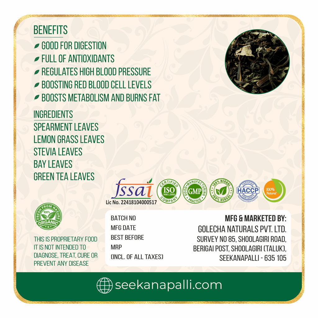 Seekanapalli Organics Spearmint Garden Mint Green Tea 200 gram