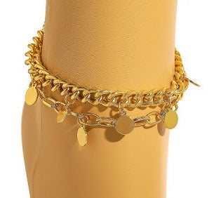 METALLIC DISC LAYERED CHARM ANKLET