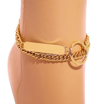 GOLD BAR CHARM ANKLET