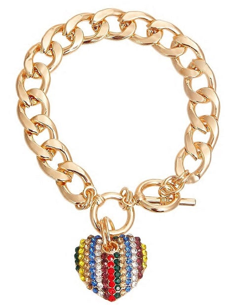 GOLD STRIP COLOR CHARM BRACELET