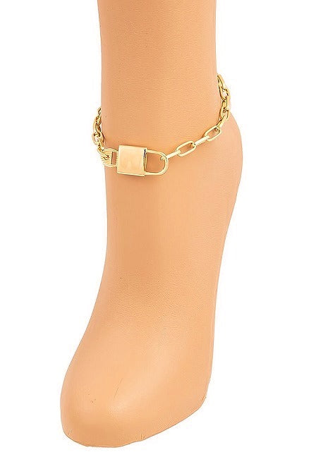 PAD LOCK LINK CHAIN ANKLETS