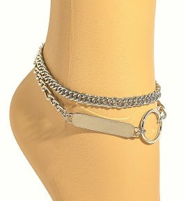 SILVER BAR CHARM ANKLET