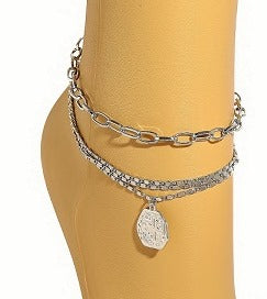 SILVER INTRICATE LAYERED ANKLET