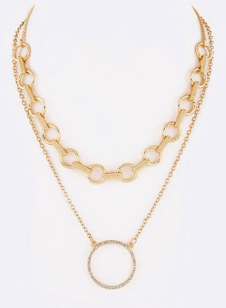 CHAIN LINK ROUND BLING PENDANT LAYERED NECKLACE