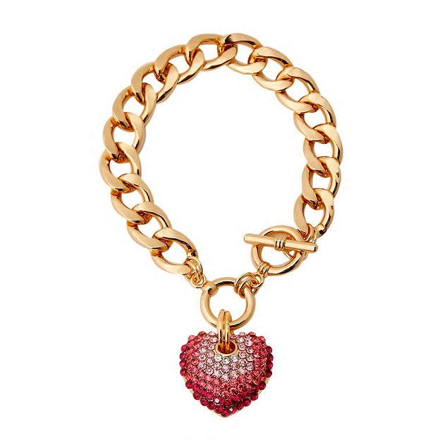 THREE TONE PINK HEART CHARM BRACELET