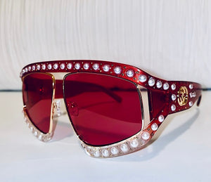 RED PEARL PUNK SUNGLASSES