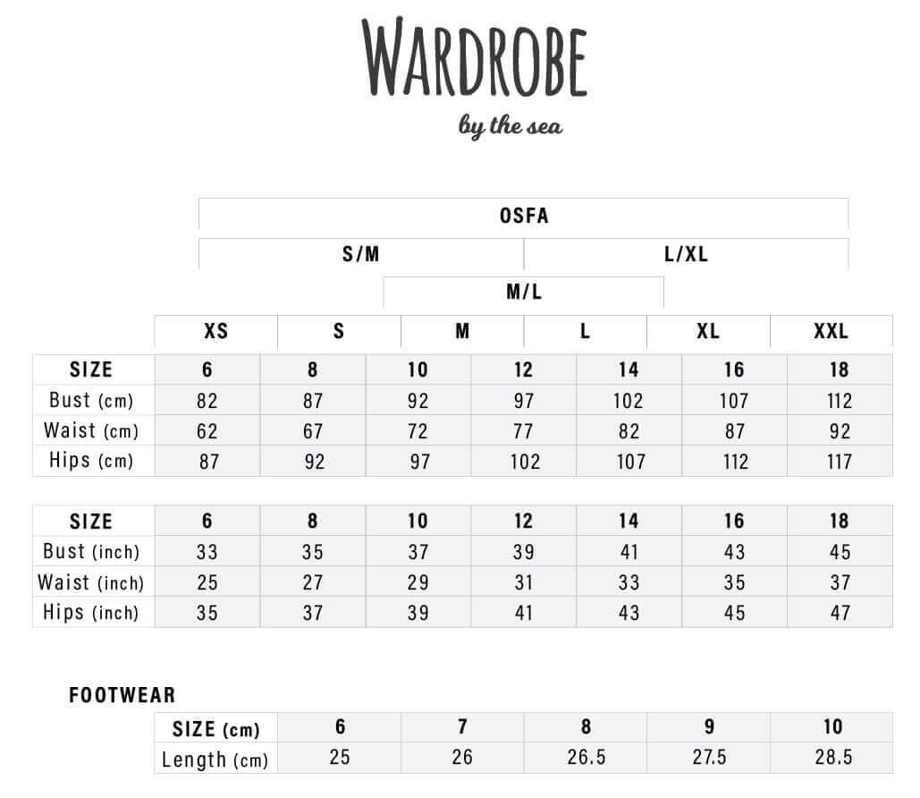 Sizing Guide - Wardrobe by the Sea