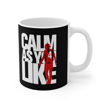 Load image into Gallery viewer, Calm As You Like VVD Mug (White & Red Print on Black)