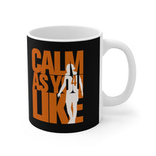 Load image into Gallery viewer, Calm As You Like VVD Mug (Orange Print on Black)