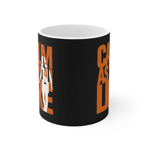 Calm As You Like VVD Mug (Orange Print on Black)