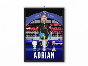 Adrian - Champions 19/20 Caricature Illustration Print - A3, A4 or A5