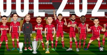 Load image into Gallery viewer, LFC 2020/21 Full Squad Panoramic - Caricature Illustration Print - 50 x 23cm